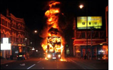 Iran burning bus