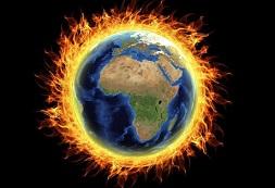 Globe on fire