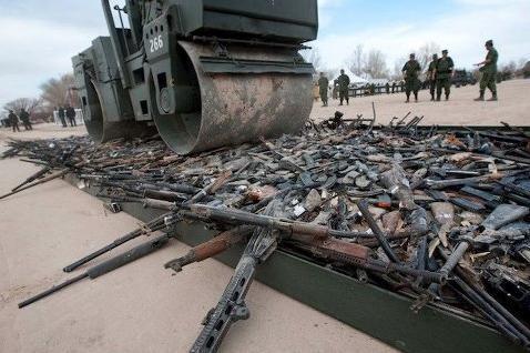 Guns being destroyed